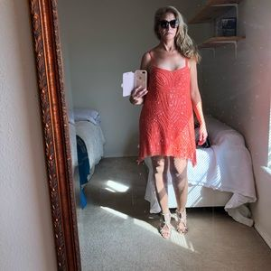 Free  people orange sequence mini dress